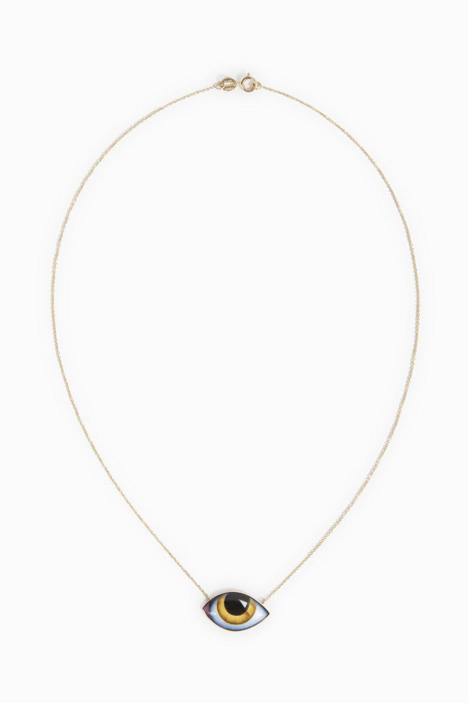 LITO Yellow Enamel Eye Necklace, Size Os, Women, Metallic