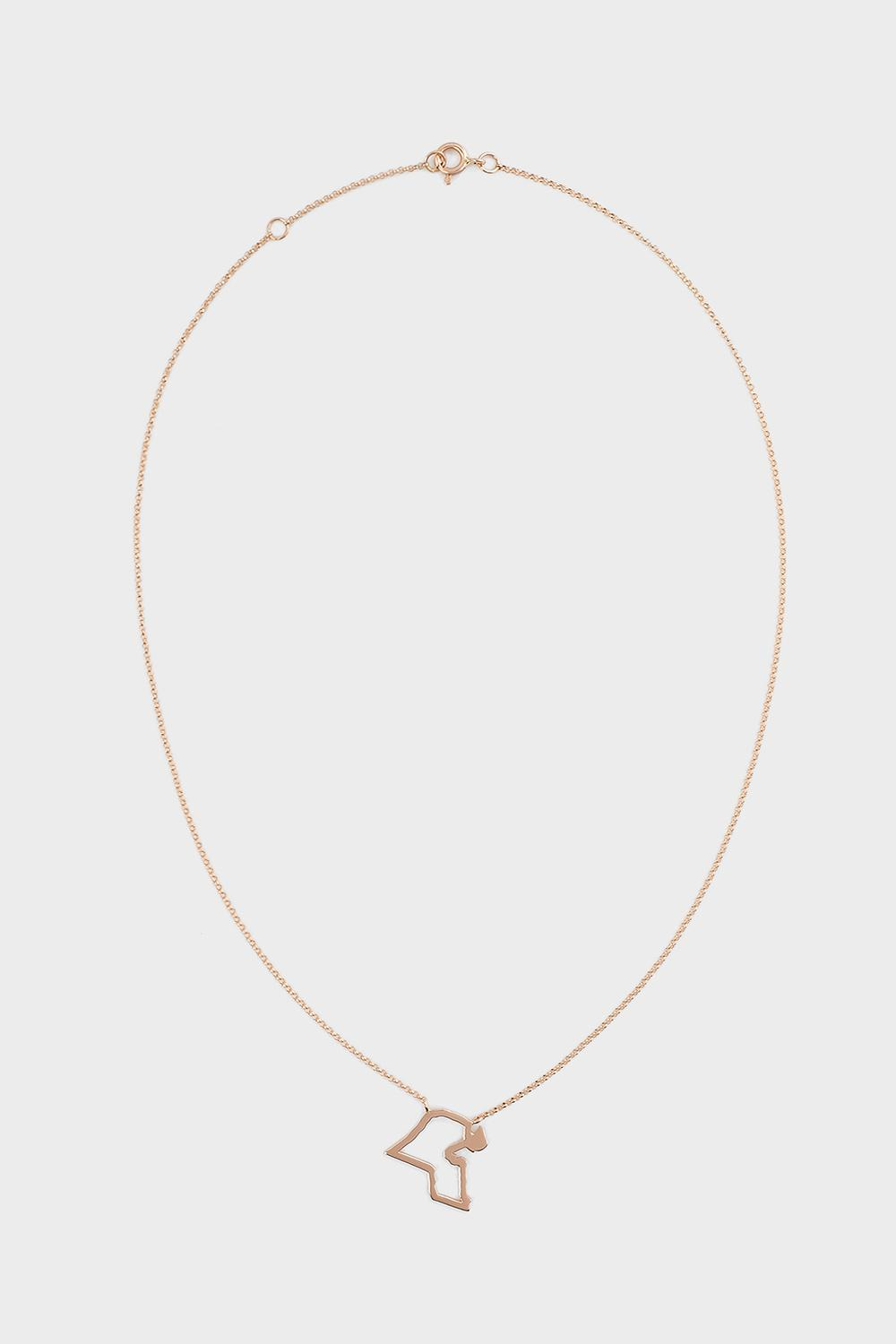 TIBA Kuwait Map Outline Necklace, Size Os, Women, R Gold