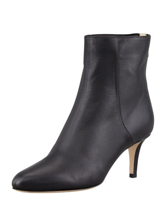 Brody Black Grainy Calf Leather Round Toe Ankle Boots