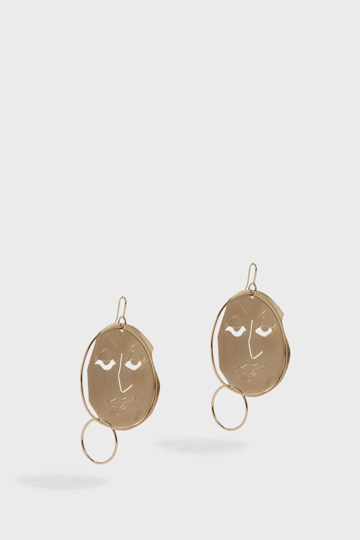 J.W.Anderson Moon Face Earrings in Gold Eco Brass 8vwunJ