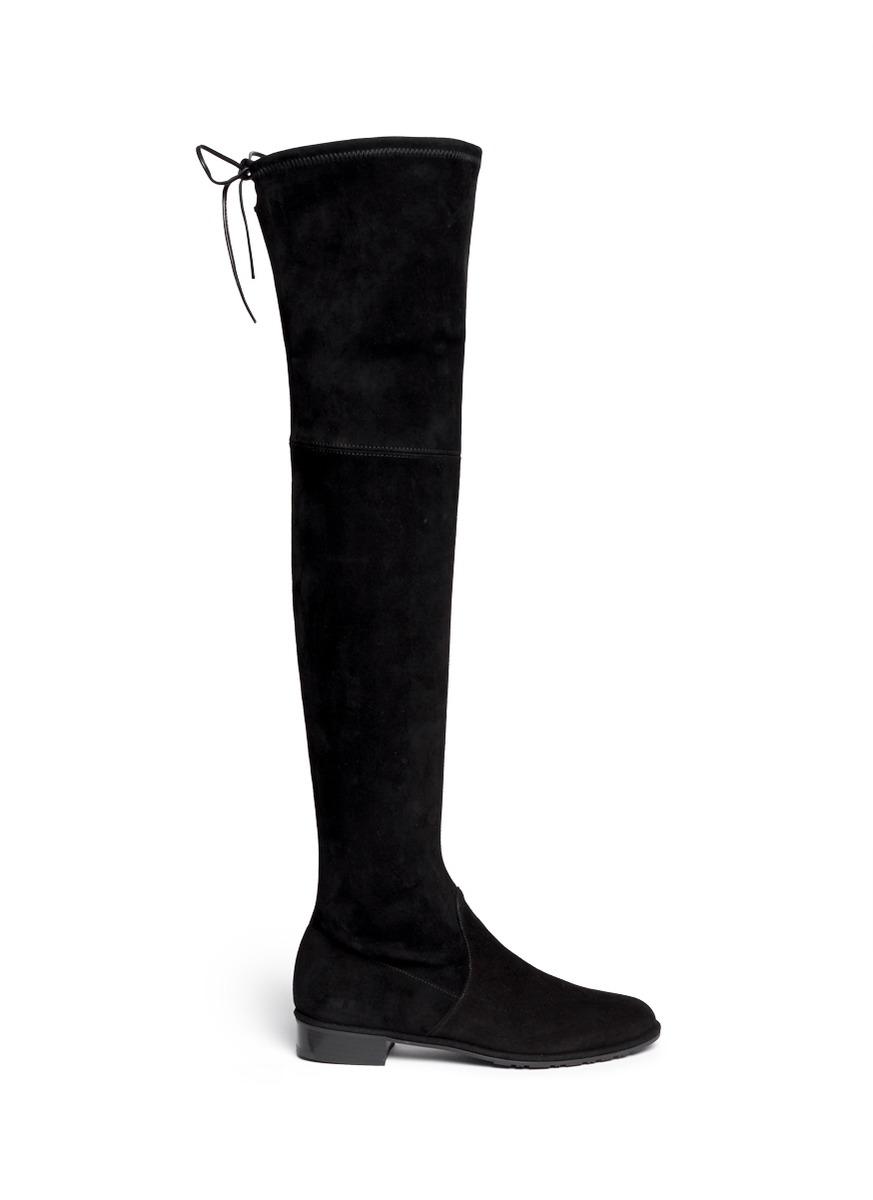 'Lowland' Knee High Stretch Suede Boots, Nero