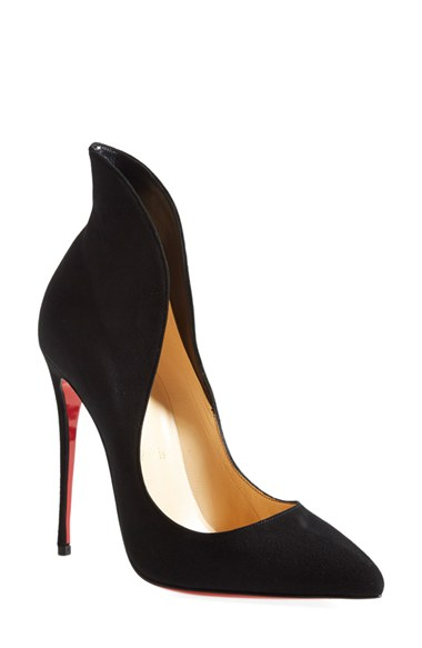 CHRISTIAN LOUBOUTIN Mea Culpa Flared Suede Red Sole Pump, Black