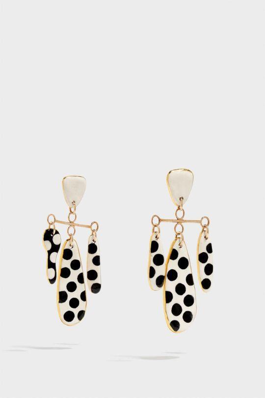 SONIA BOYAJIAN Polka Dot Gold-Tone Ceramic Earrings, Size Os, Women