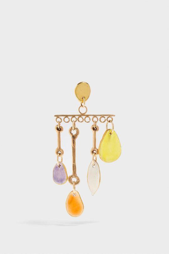 SONIA BOYAJIAN Wind Chime Gold-Tone Ceramic Earring, Size Os, Women
