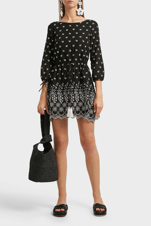 ATHENA PROCOPIOU Moonbeams Embroidered Cotton Mini Dress, 3 in Black