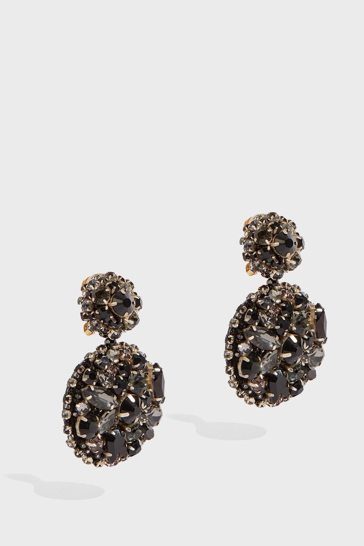 Crystal Earrings, Size Os, Women, Black