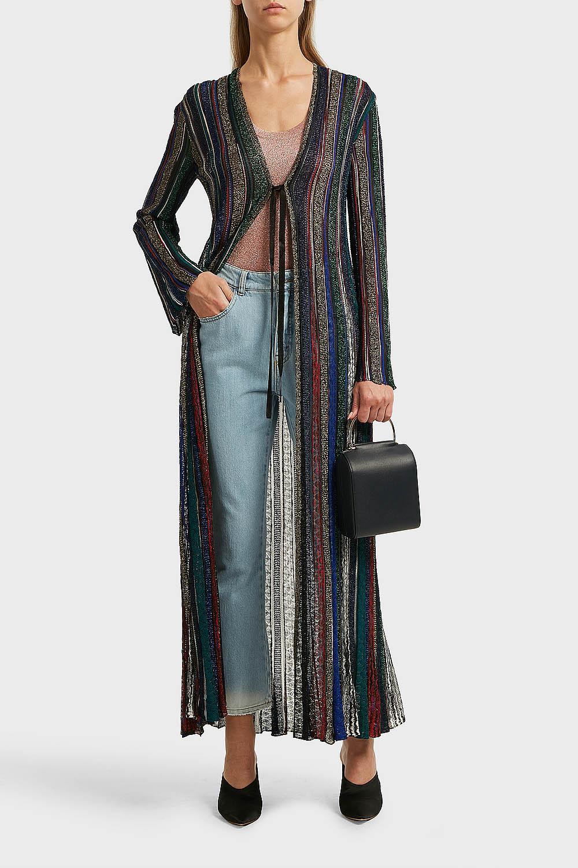 Striped Crochet-Knit Cardigan, Size It44, Women, Stripes