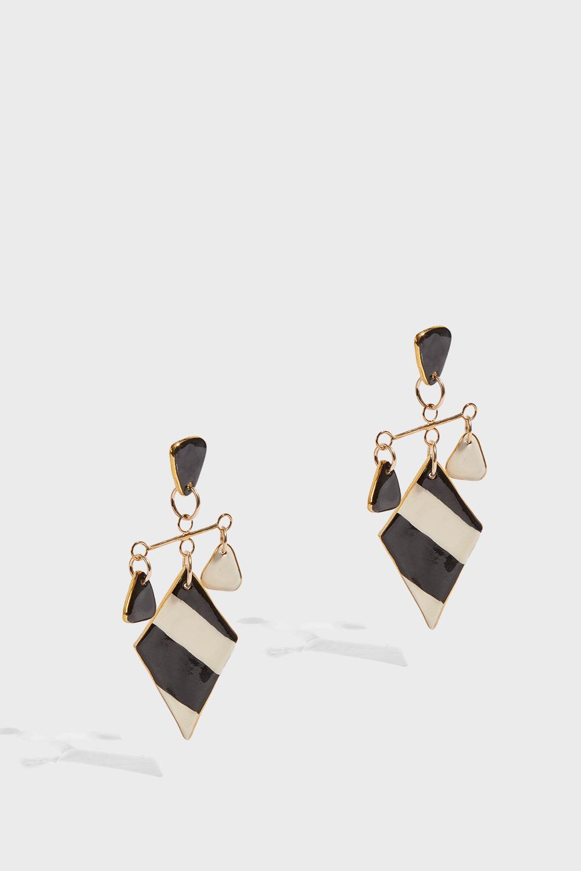 SONIA BOYAJIAN Tanning Earrings, Size Os, Women, Stripes