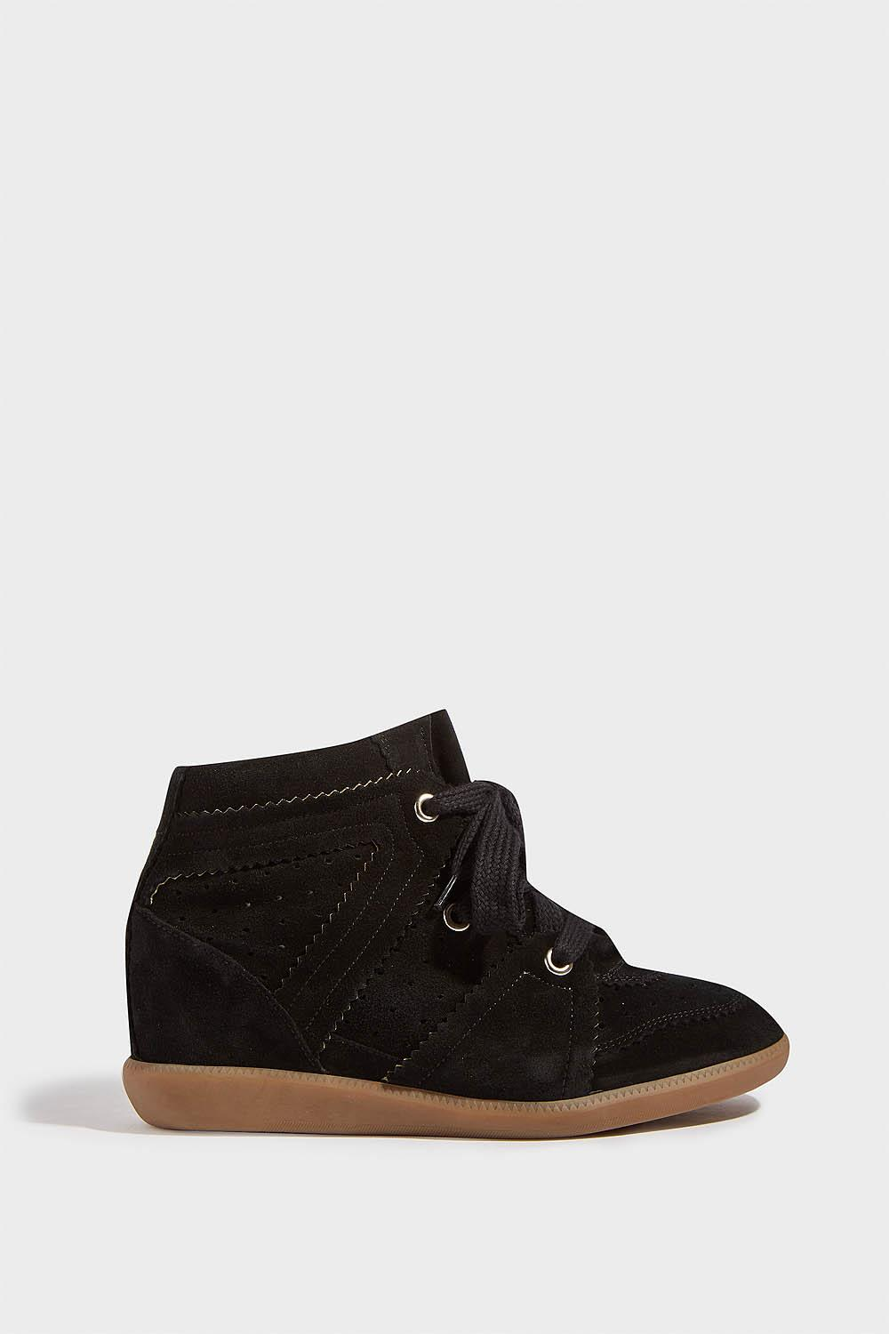 Bobby Suede Wedge Trainers, Size Fr40, Women, Black