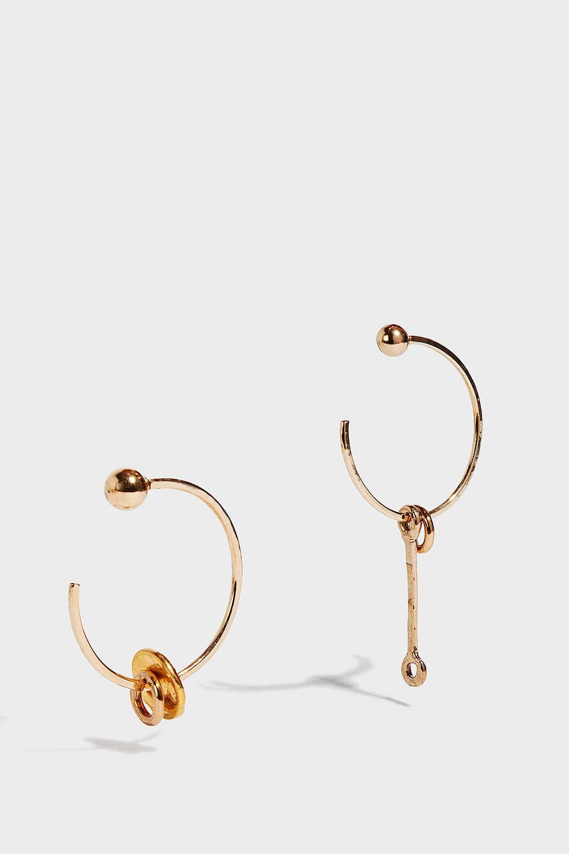 SONIA BOYAJIAN Alice Hoop Charm Earrings, Size Os, Women, Y Gold