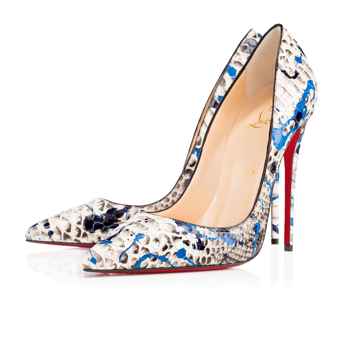 3a778201fddd CHRISTIAN LOUBOUTIN DÉCOLLETÉ 100 PAINTED PYTHON PUMPS