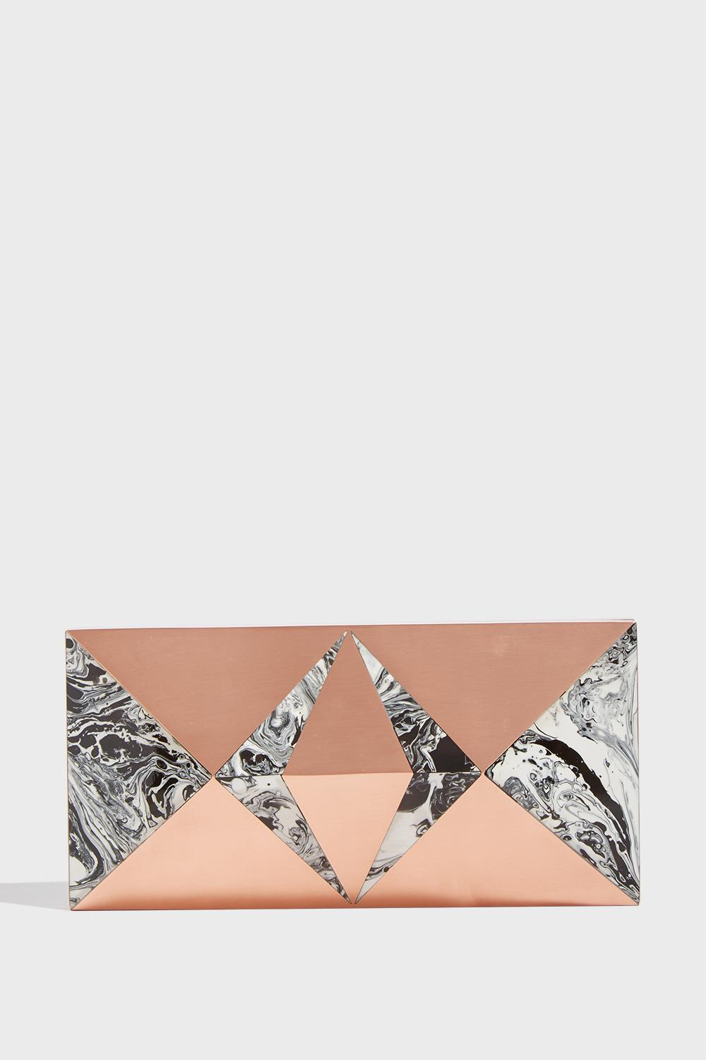 KDP Prisme Rose Marble Clutch, Size Os, Women, R Gold