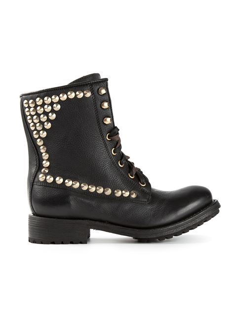 'Ralph' Stud Leather Biker Boots in Black