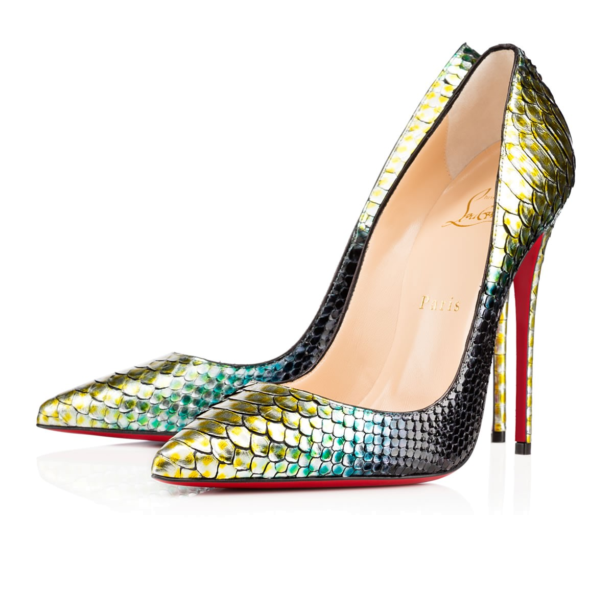 CHRISTIAN LOUBOUTIN So Kate Python Mermaid Red Sole Pump in Mimosa