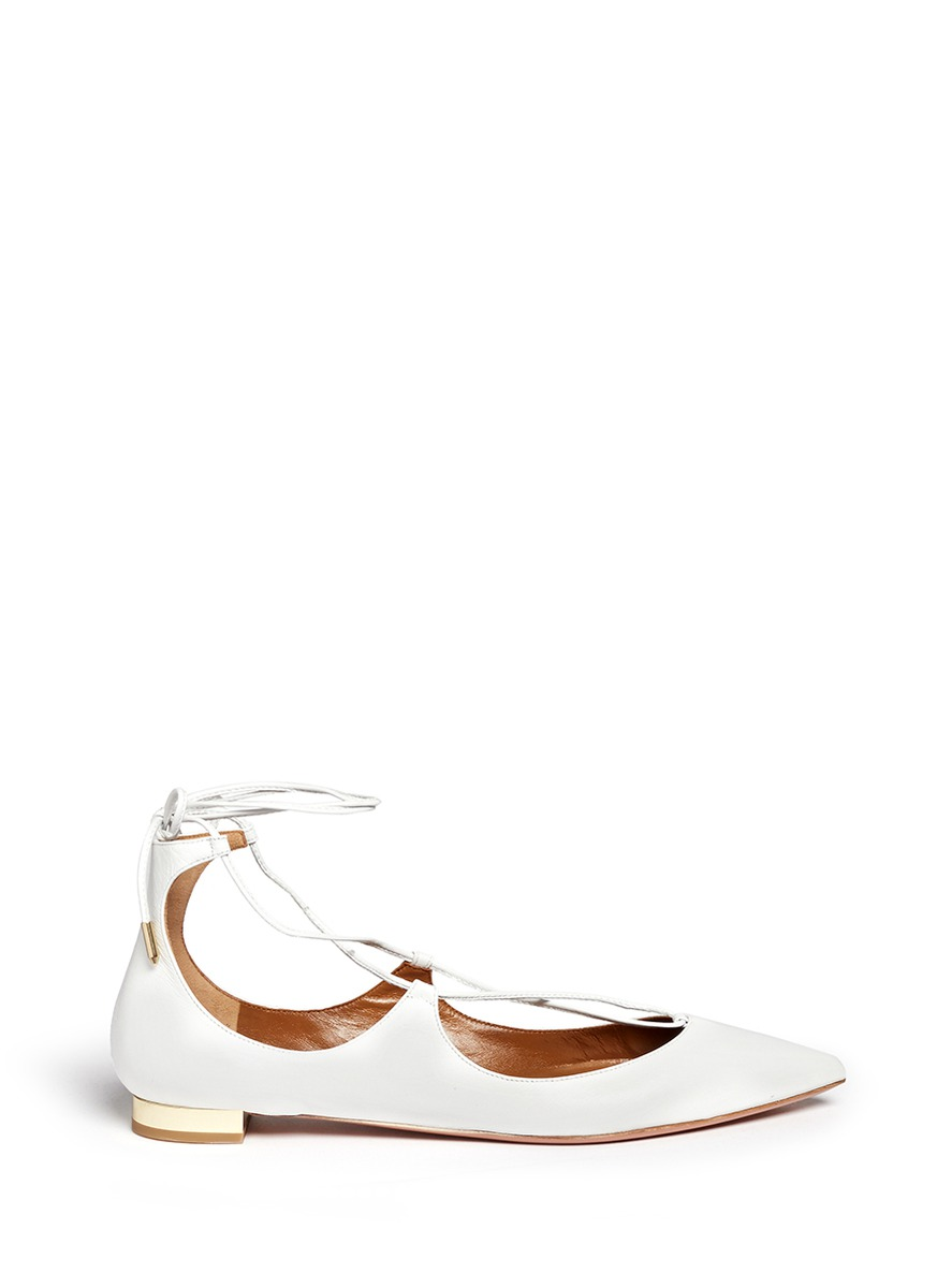 Christy Lizard-Effect Leather Point-Toe Flats in Platinum