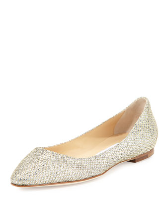 Romy Flat Platinum Ice Dusty Glitter Pointy Toe Flats, Gold