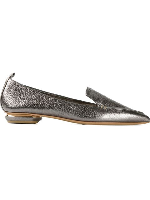 Beya Metallic Textured-Leather Point-Toe Flats in Pewter