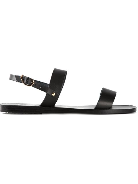 ANCIENT GREEK SANDALS Clio Double-Band Flat Slingback Sandal, Black