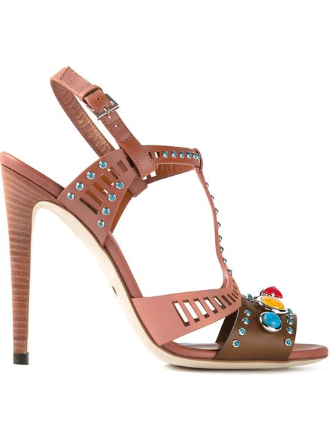 194163fa0208 Gucci  Lika  Embellished Sandals In Marrone