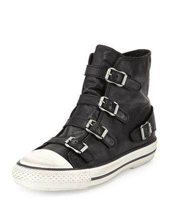 'Virgin' Buckle Leather High Top Sneakers, Klack