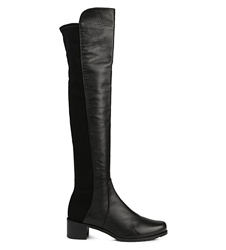 Reserve Stretch-Back Leather Boots in Black