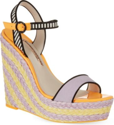 SOPHIA WEBSTER Lucita Striped Espadrille Wedge Sandals in Lilac