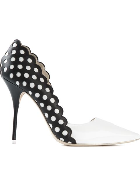 SOPHIA WEBSTER Mika Polka Dot-Paneled Patent Leather D'Orsay Pumps in White