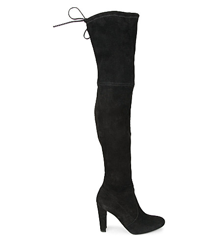 Highland Suede Over-The-Knee Boots, Black