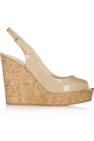 Prova Nude Patent Leather Sling Back Peep Toe Wedges in Neutral