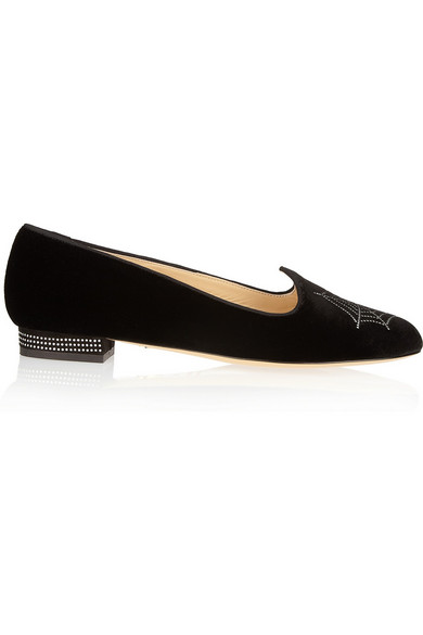 Woman Charlotte'S Web Embroidered Velvet Slippers Black from CHARLOTTE OLYMPIA