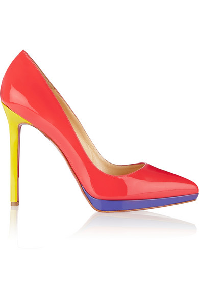 CHRISTIAN LOUBOUTIN Pigalle Plato 120 Patent-Leather Pumps in Orange