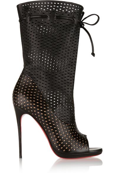 CHRISTIAN LOUBOUTIN Black Perforated Leather 'Jennifer 120' Open-Toe Boots'
