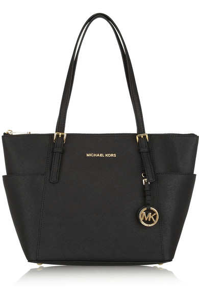 Jet Set Top-Zip Saffiano Tote Bag, Black