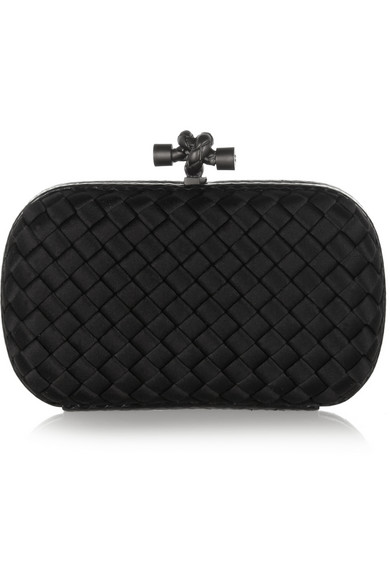 The Knot Watersnake-Trimmed Intrecciato Satin Clutch, Black