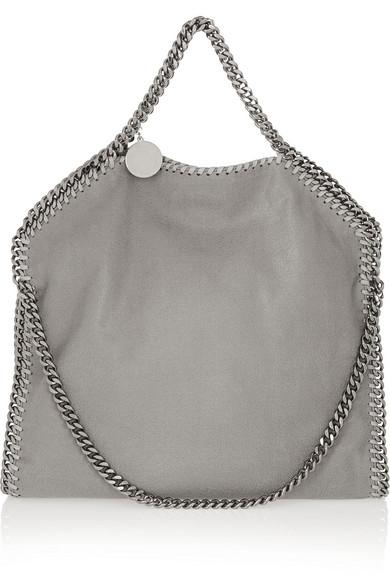 The Falabella Medium Faux Brushed-Leather Shoulder Bag, Gray