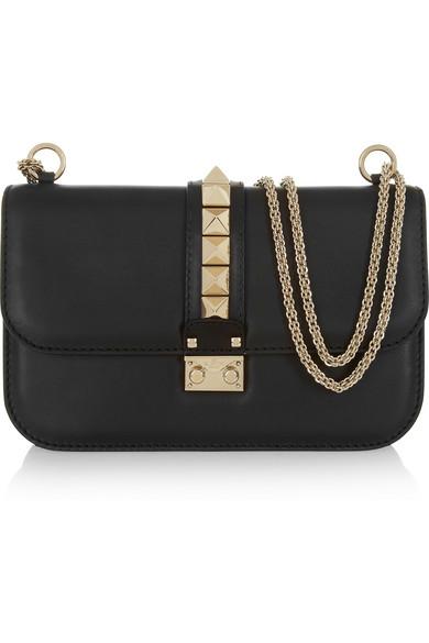 Garavani 'Medium Lock' Studded Leather Shoulder Bag - Black