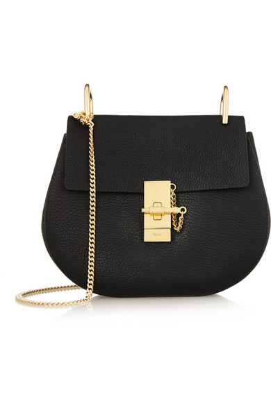 Drew Small Textured-Leather Shoulder Bag, Black