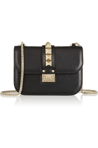 Lock Small Leather Shoulder Bag in Black