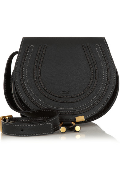 The Marcie Mini Textured-Leather Shoulder Bag in Black