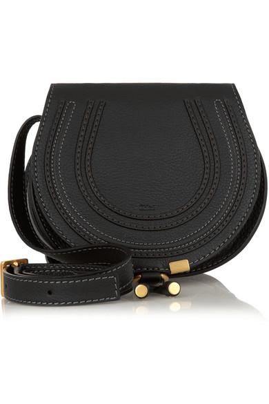 The Marcie Mini Textured-Leather Shoulder Bag, Black