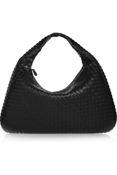 Veneta Large Intrecciato Leather Shoulder Bag, Black