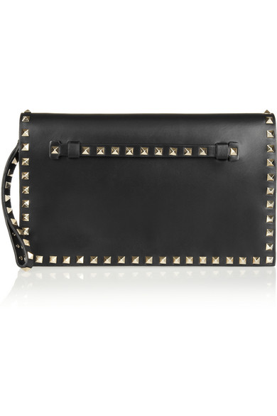 Black Leather Small Rockstud Clutch