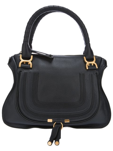 Black Leather 'Marcie' Convertible Tote, Blue