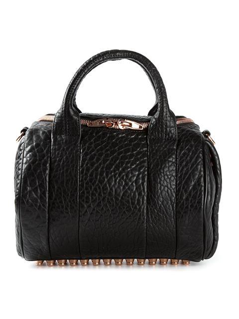 'Rockie - Rose Gold' Leather Crossbody Satchel - Black