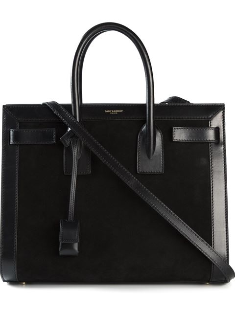 Sac De Jour Small Structured Bicolor Leather Tote Bag in Black
