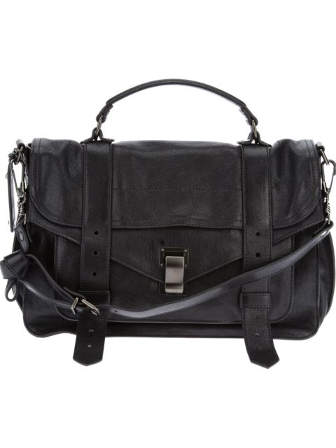 Medium Ps1 Paper Leather Satchel - Black