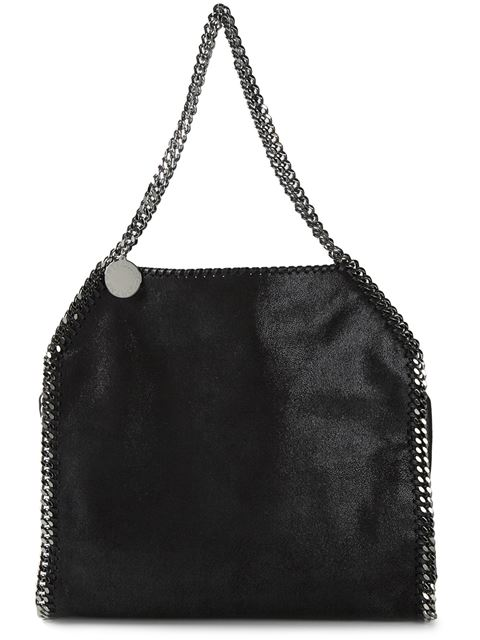 Black Faux Suede 'Falabella' Braided Chain Detail Mini Shoulder Bag