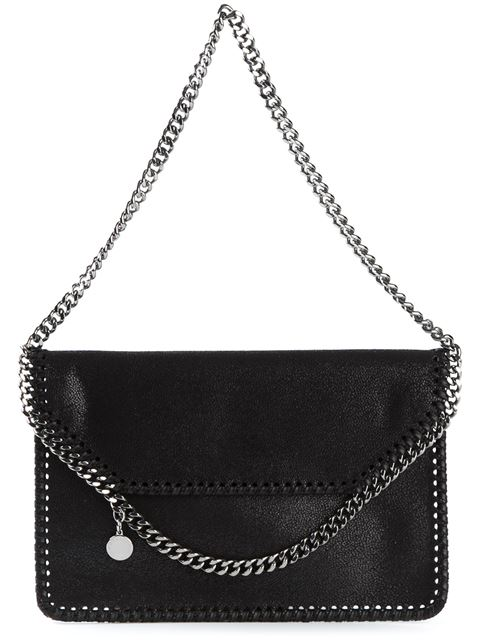 'Mini Falabella - Shaggy Deer' Faux Leather Crossbody Bag - Black