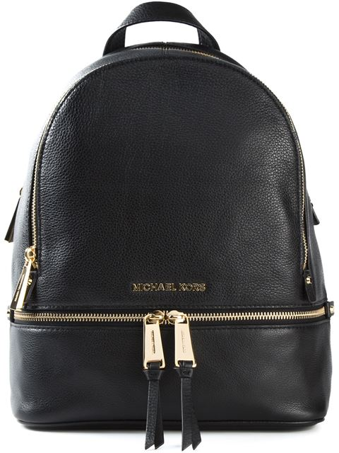 'Rhea' Small 18K Gold Plated Leather Backpack in Black