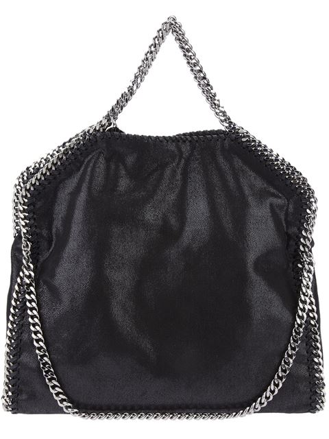 'Large Falabella - Shaggy Deer' Faux Leather Tote - Black